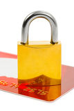 Lock and credit card. Isolated on white background Royalty Free Stock Photography