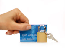Lock and credit card. Business security background Stock Photo
