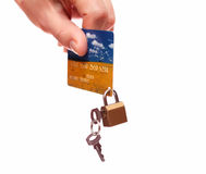 Lock and credit card. Business security background Royalty Free Stock Photos
