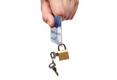 Lock and credit card. Business security background Royalty Free Stock Images