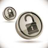Lock 3d icon. Lock 3d icon isolated on white background, open and closed versions, vector illustration Stock Photo