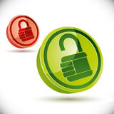 Lock 3d icon on white background. Royalty Free Stock Images