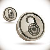 Lock 3d icon  on white background. Lock 3d icon  on white background, open and closed versions,  illustration Royalty Free Stock Photography