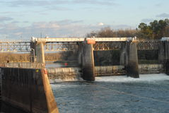 Lock and Dam. On Savannah river near Augusta, Georgia in winter royalty free stock photo
