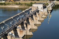 Lock and dam. At the Illinois River; Starved Rock State Park stock images