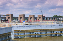 Lock and Dam at La Crescent Royalty Free Stock Photography