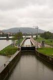 Lock and Dam at Main river, Klingenberg. Lock and Dam at Main river at Klingenberg, Germany, Deutschland, April 2017, Spring Stock Photos