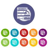 Lock data security icons set vector color. Lock data security icons color set vector for any web design on white background Stock Photo