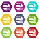 Lock data security icons set 9 vector. Lock data security icons 9 set coloful isolated on white for web Royalty Free Stock Photo