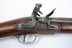 Lock detail of a 19th century flintlock cavalry carbine Royalty Free Stock Photos
