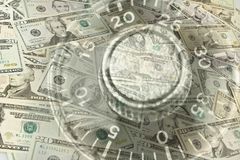 Lock dial and American banknotes. Combination lock dial and American banknotes Stock Photography