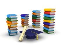 lock, diplom och böcker för avläggande av examen 3D Royaltyfri Fotografi