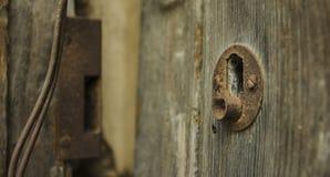 Lock. Door in a old village stock image