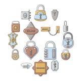 Lock door types icons set, cartoon style. Lock door types icons set. Cartoon illustration of 16 lock door types vector icons for web Stock Photo