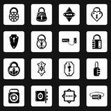 Lock door types icons set, simple style. Lock door types icons set. Simple illustration of 16 lock door types vector icons for web Stock Photo