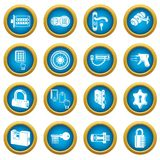 Lock door types icons set, simple style. Lock door types icons set. Simple illustration of 16 lock door types vector icons for web Royalty Free Stock Photo