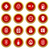 Lock door types icons set, simple style. Lock door types icons set. Simple illustration of 16 lock door types vector icons for web Stock Image