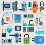 Lock door vector flat icons set security house protection concept Safety password sign privacy element access closed royalty free illustration