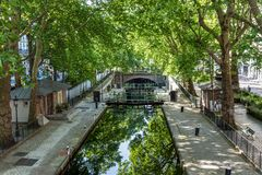 Lock Ecluse du temple at the Canal Saint-Martin in Paris royalty free stock photos