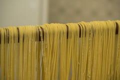 Lock för buljongen Äggpasta som göras av handen Traditionell italienare Royaltyfria Bilder