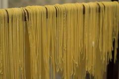 Lock för buljongen Äggpasta som göras av handen Traditionell italienare Royaltyfri Fotografi