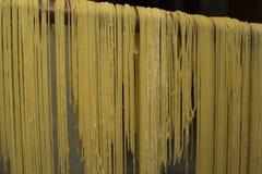 Lock för buljongen Äggpasta som göras av handen Traditionell italienare Fotografering för Bildbyråer