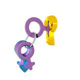 Lock with female key Royalty Free Stock Image