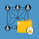 Lock file data center related. Icon,  illustration Royalty Free Stock Photography