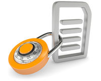 Lock with file icon. On white background Royalty Free Stock Photos