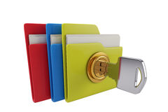 Lock file. Three folders, lock files, protect files safety Royalty Free Stock Image