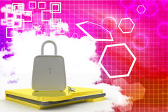 Lock and Folder With Files   Illustration Royalty Free Stock Photos