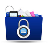 Lock folder with padlock username password Royalty Free Stock Photography