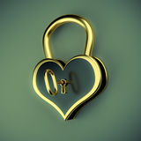Lock in the form of a heart with key Royalty Free Stock Image