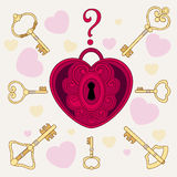The lock in the form of heart and keys Stock Image