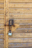The Lock on the Garage Door Stock Image