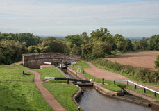 Lock Gates and Bridge Royalty Free Stock Image