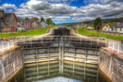 Lock gates on the Caledonian canal Fort Augustus, Scotland, UK in HDR Stock Photography