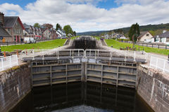 Lock gates Caledonian canal Fort Augustus Scotland UK near Loch Ness Stock Photography