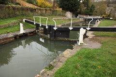Lock gates on the Kennet and Avon Canal in Bath Royalty Free Stock Image