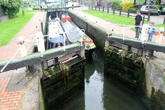 Lock gates opening Royalty Free Stock Photo