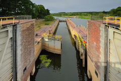 Lock gates of the water dam in river Stock Photography