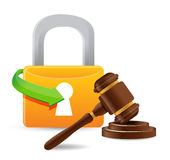 Lock and gavel. Illustration design over a white background Stock Photography