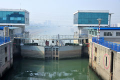 Lock Gezhou dam. In Yangtze river royalty free stock image