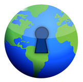 Lock globe illustration Royalty Free Stock Images