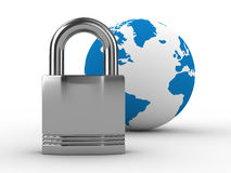 Lock and globe on  white background Royalty Free Stock Photography