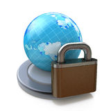 Lock and globe on white background. Isolated 3D image Royalty Free Stock Photography