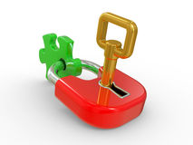 Lock, gold key and puzzle piece Royalty Free Stock Photography