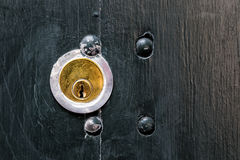 The Lock. A golden lock in a black door Royalty Free Stock Photo
