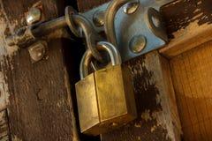 Lock. Golden lock on an old wooden door Stock Photography