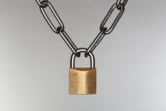 Lock on grey background Royalty Free Stock Photo